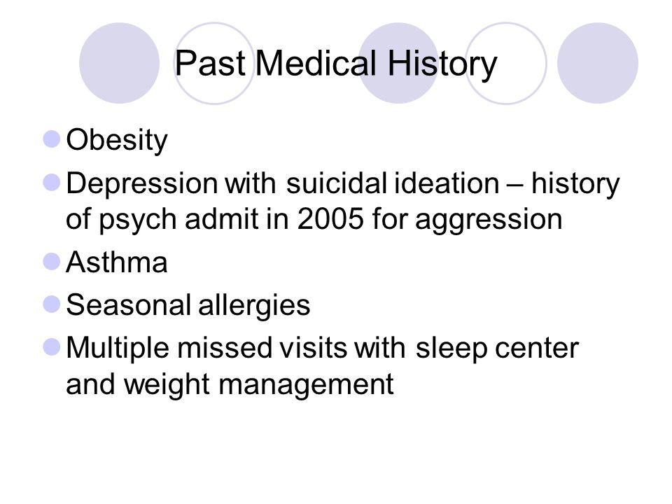 Family History Albuterol Medications Obesity Sleep Apnea Learning Disorders Bipolar Disorder Schizophrenia Diabetes