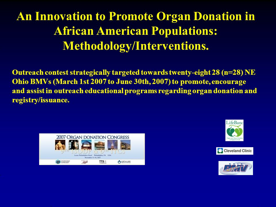 An Innovation to Promote Organ Donation in African American Populations: Methodology/Interventions.