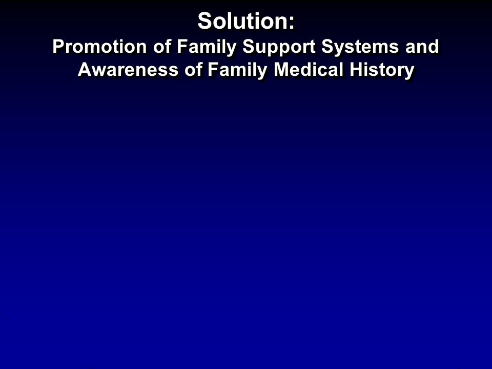 Solution: Promotion of Family Support Systems and Awareness of Family Medical History