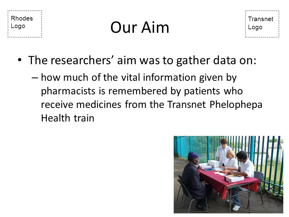 Rhodes Logo Transnet Logo Our Aim The researchers aim was to gather data on: – how much of the vital information given by pharmacists is remembered by patients who receive medicines from the Transnet Phelophepa Health train