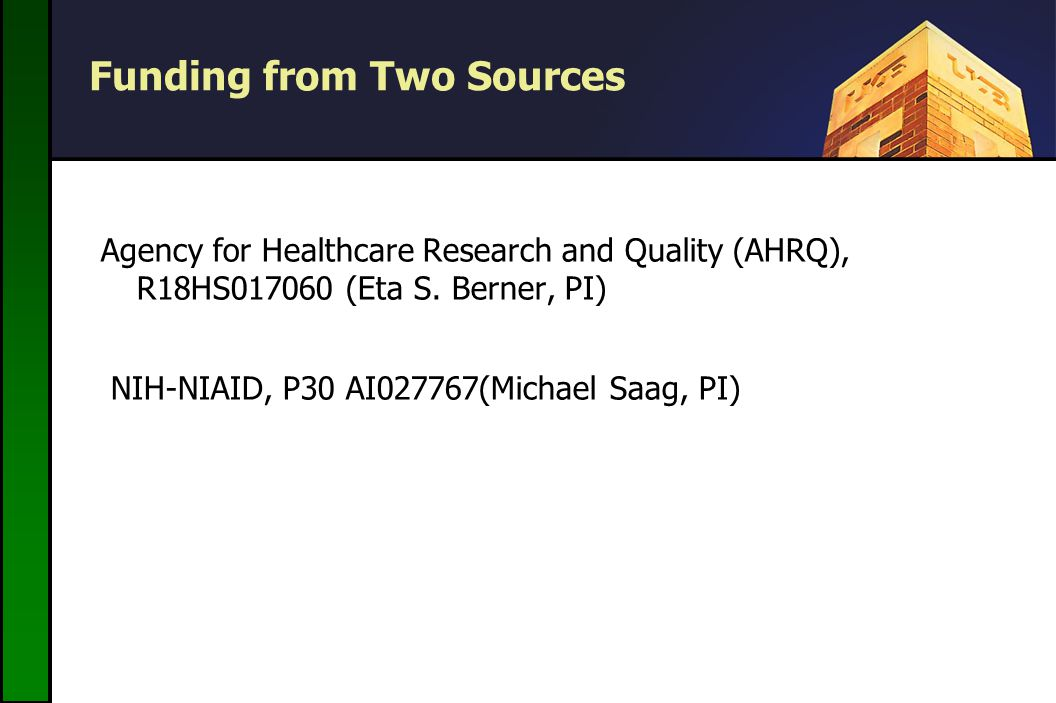 Funding from Two Sources Agency for Healthcare Research and Quality (AHRQ), R18HS (Eta S.