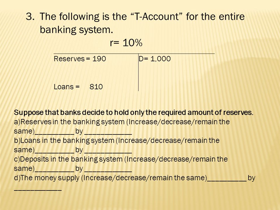 D = 700 Currency = 800 r=10% R=71 L= 629 1b held as excess reserves by banks is used to make loans D = 1 x (10)=10 r=10% R=0 L= D – R = 10 M s = =1,500 R = 71D = 710 L = 639 AR=71 RR=70 ER=1 AR=71 RR=70 ER=1 M s = Ms = M s = D + Currency 1510 M s = – 0