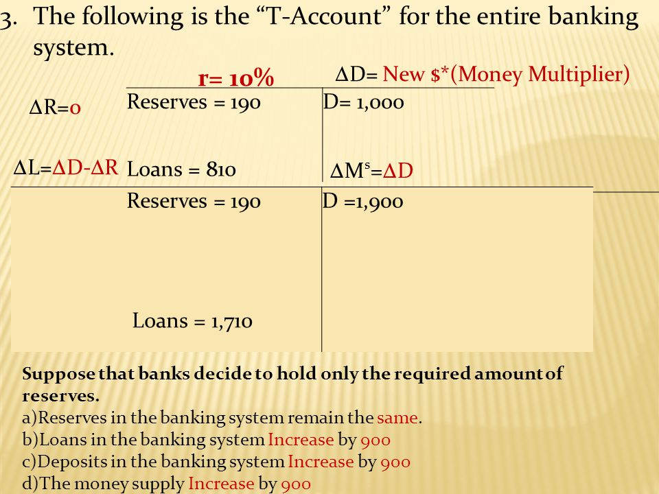 3.The following is the T-Account for the entire banking system.
