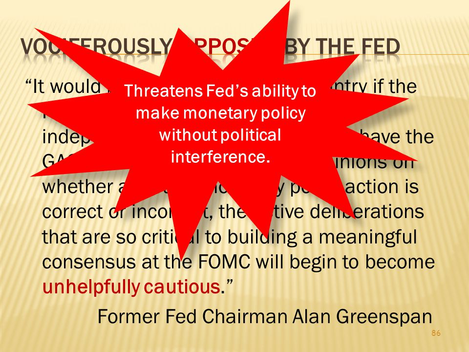 The audit would detail who the Fed lends to, how much it lends and what agreements it has with foreign central banks and financing organizations.