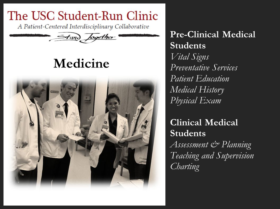 Medicine Pre-Clinical Medical Students Vital Signs Preventative Services Patient Education Medical History Physical Exam Clinical Medical Students Ass