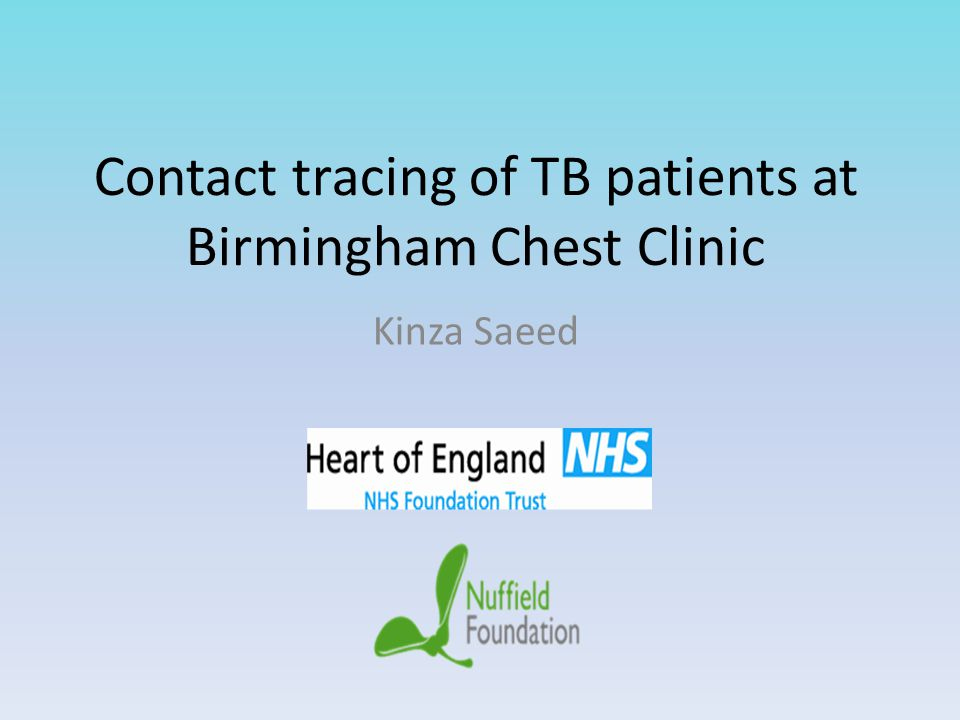 Contact tracing of TB patients at Birmingham Chest Clinic Kinza Saeed