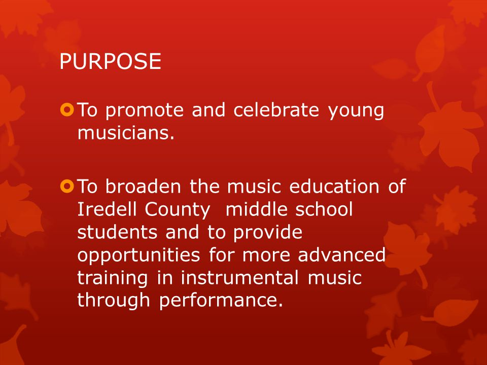 PURPOSE To promote and celebrate young musicians.