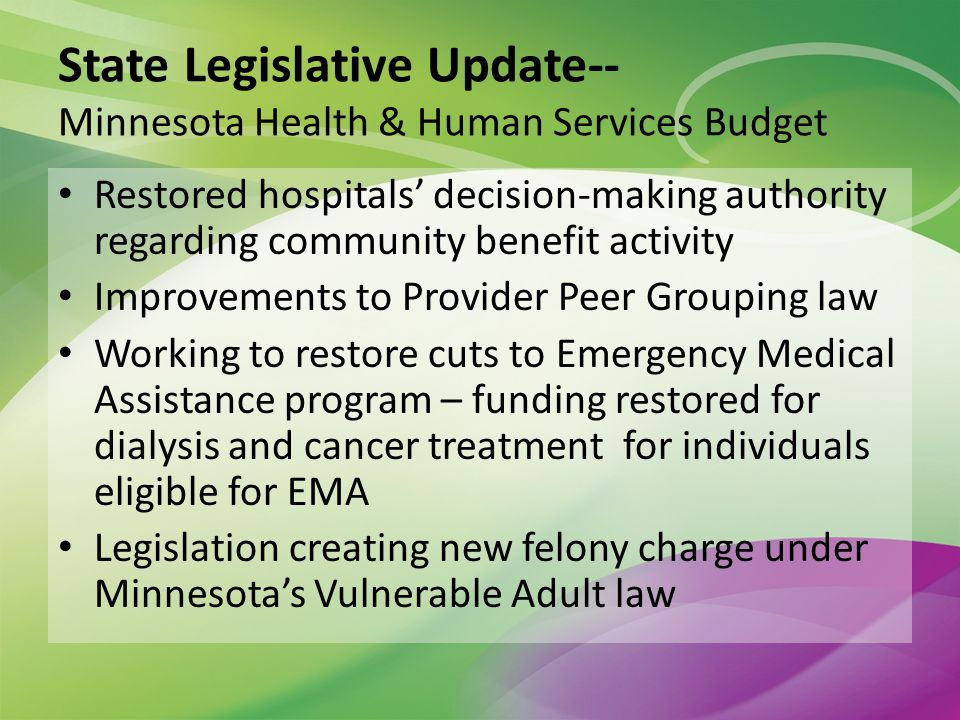 State Legislative Update-- Minnesota Health & Human Services Budget Restored hospitals decision-making authority regarding community benefit activity Improvements to Provider Peer Grouping law Working to restore cuts to Emergency Medical Assistance program – funding restored for dialysis and cancer treatment for individuals eligible for EMA Legislation creating new felony charge under Minnesotas Vulnerable Adult law