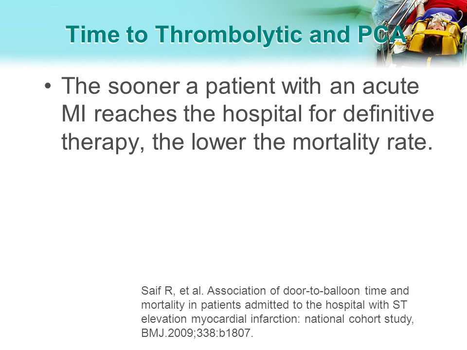 Time to Thrombolytic and PCA The sooner a patient with an acute MI reaches the hospital for definitive therapy, the lower the mortality rate. Saif R,