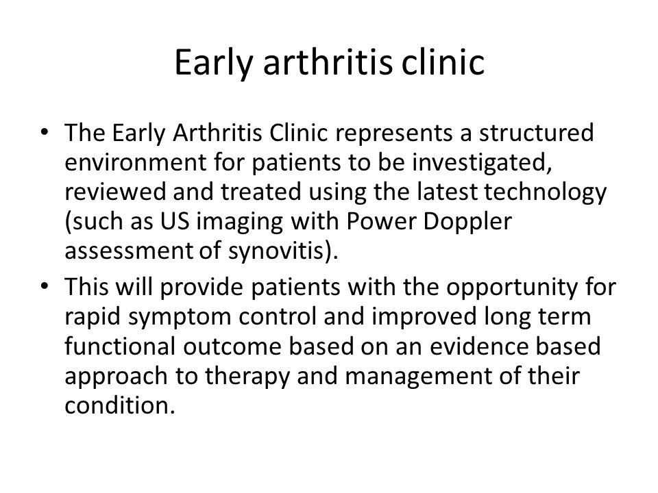 Early arthritis clinic--synovitis