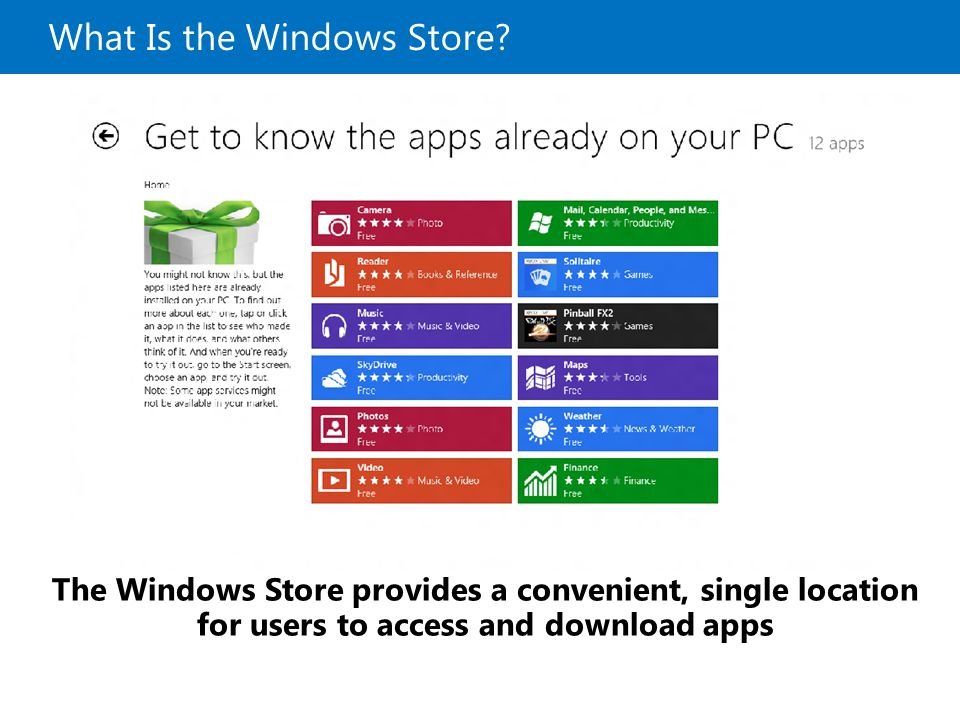 What Is the Windows Store? The Windows Store provides a convenient, single location for users to access and download apps