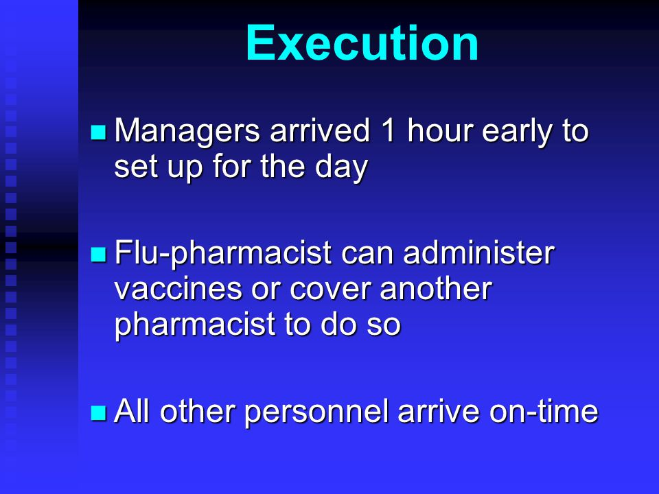 Execution Managers arrived 1 hour early to set up for the day Managers arrived 1 hour early to set up for the day Flu-pharmacist can administer vaccines or cover another pharmacist to do so Flu-pharmacist can administer vaccines or cover another pharmacist to do so All other personnel arrive on-time All other personnel arrive on-time