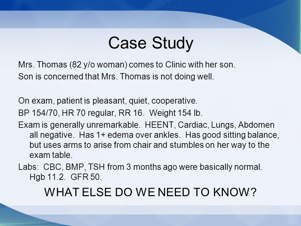 Case Study BACKGROUND: Mrs.Thomas is a widow. Husband died 6 yr ago Mrs.