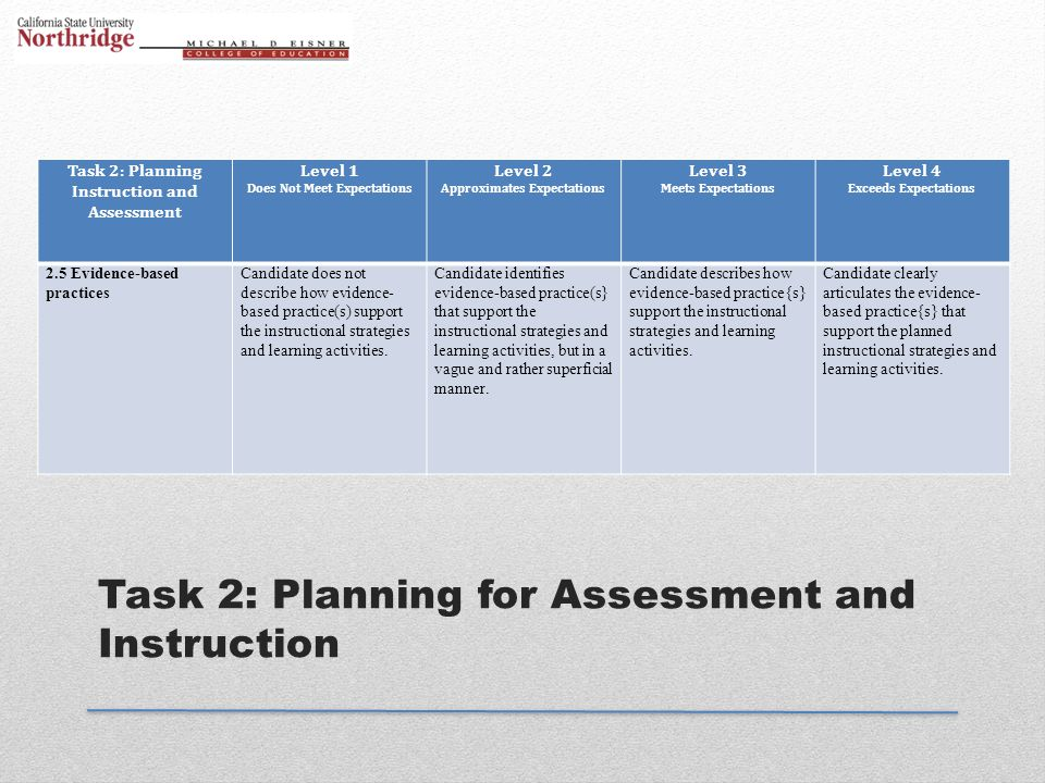 Task 2: Planning for Assessment and Instruction Task 2: Planning Instruction and Assessment Level 1 Does Not Meet Expectations Level 2 Approximates Ex