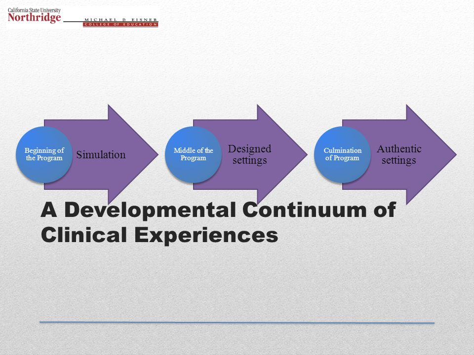 A Developmental Continuum of Clinical Experiences Simulation Beginning of the Program Designed settings Middle of the Program Authentic settings Culmi