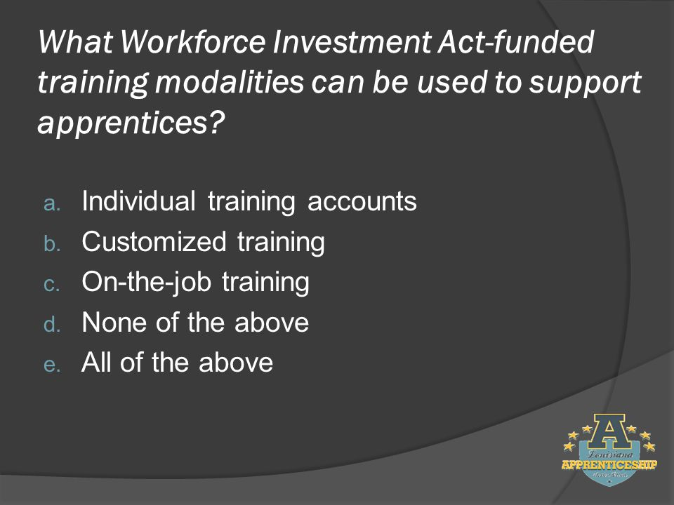 What Workforce Investment Act-funded training modalities can be used to support apprentices.
