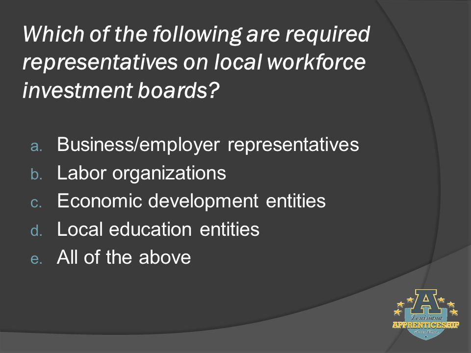Which of the following are required representatives on local workforce investment boards.