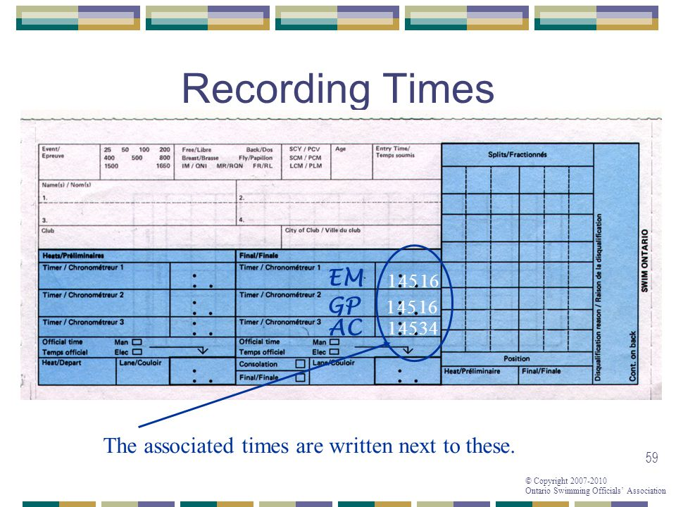 © Copyright 2007-2010 Ontario Swimming Officials Association 59 Recording Times 1 The associated times are written next to these.