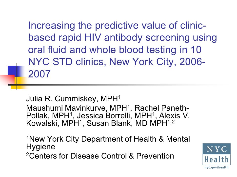 FS Rapid HIV Testing, NYC STD Clinics, December 2005 – September 2007 815 FS tests performed 678 (83.2%) + 137 (16.8%) - All OF+ samples subjected to WB irrespective of FS results