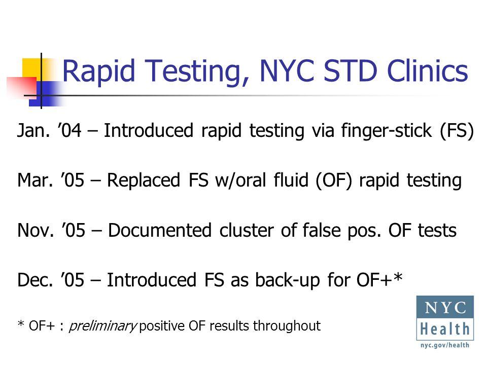 Rapid Testing, NYC STD Clinics Jan. 04 – Introduced rapid testing via finger-stick (FS) Mar.