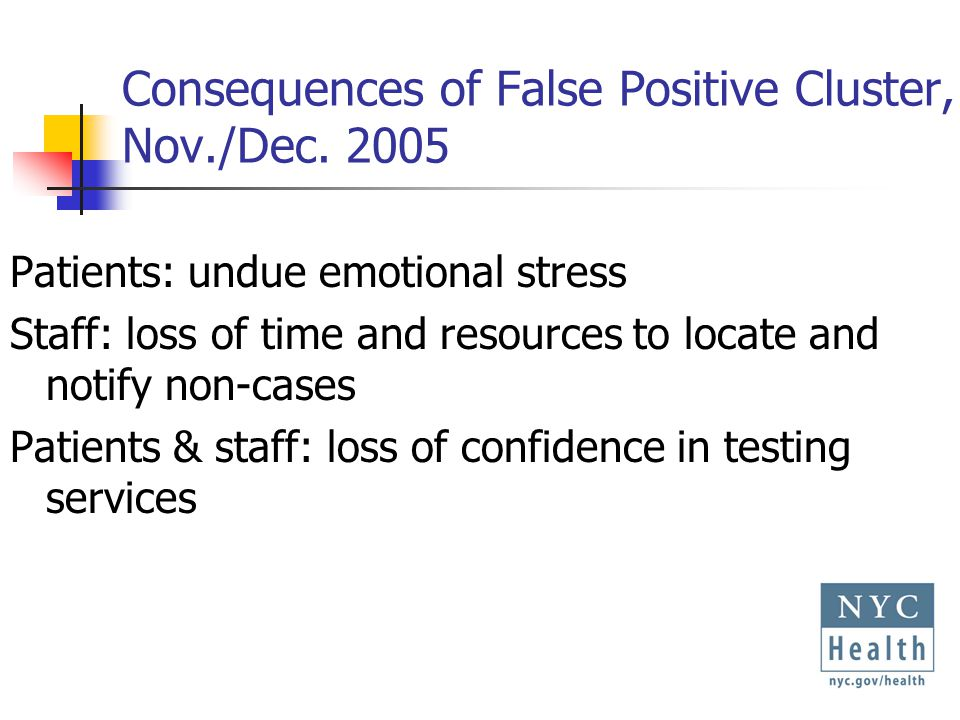 Response to Cluster of False Positives, NYC, Dec.