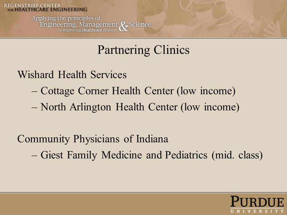 Partnering Clinics Wishard Health Services –Cottage Corner Health Center (low income) –North Arlington Health Center (low income) Community Physicians
