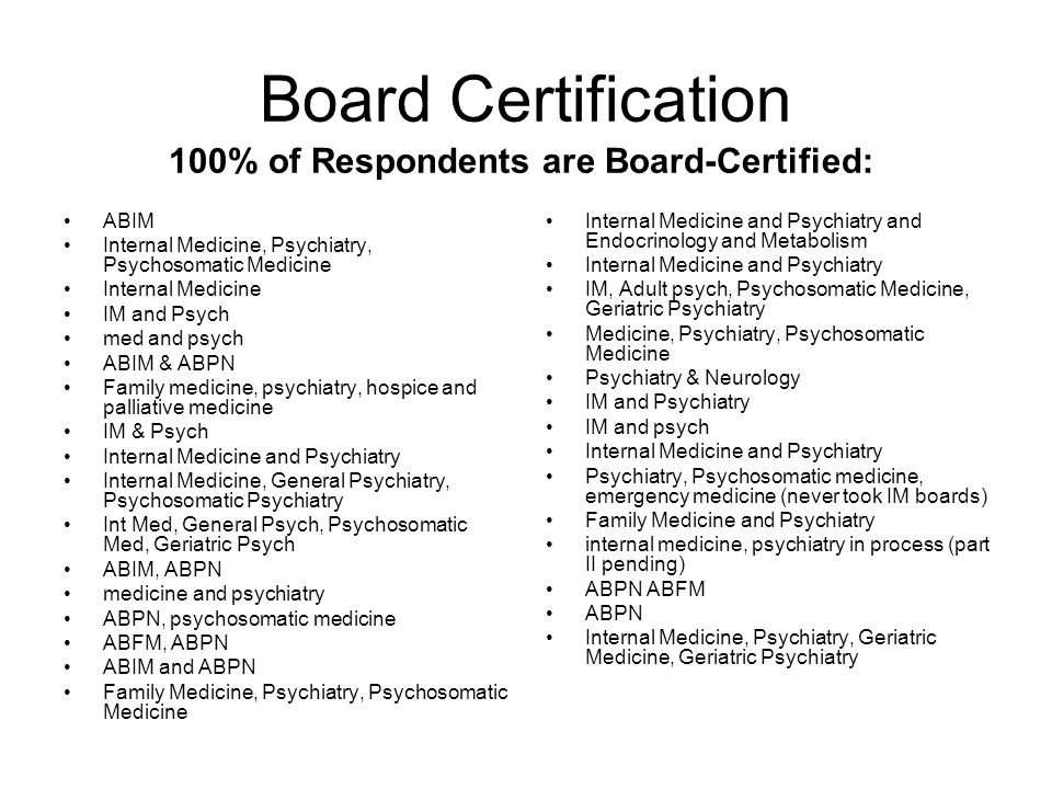 Types of Research (specified by 19 of 33 respondents; some common research interests) Clinical research Delirium Medical education Epidemiology of sexually transmitted diseases Metabolic syndrome and antipsychotics Depression and heart disease CL topics Panic disorder Delay in Acutely Ill Patients Health services research on the interaction of medical and mental health conditions (formerly psychoneuroendocrinology) psychopharmacology, brain imaging