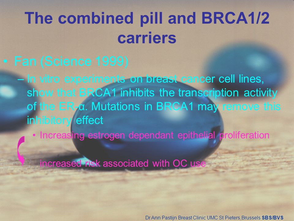 The combined pill and BRCA1/2 carriers Fan (Science 1999) –In vitro experiments on breast cancer cell lines, show that BRCA1 inhibits the transcriptio