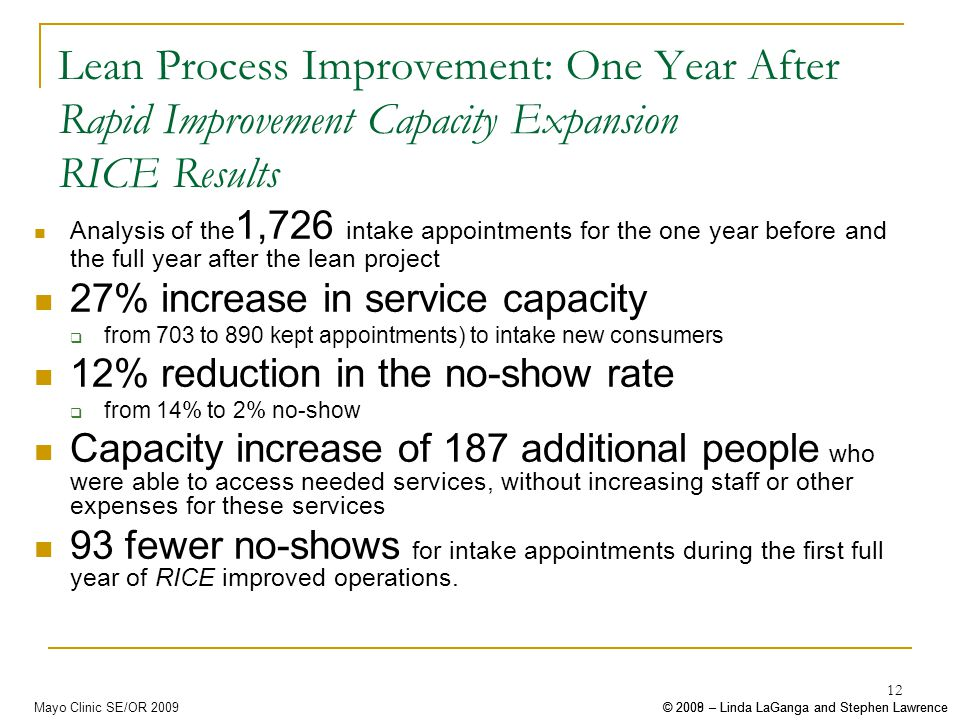 © 2008 – Linda LaGanga and Stephen Lawrence© 2009 – Linda LaGanga and Stephen LawrenceMayo Clinic SE/OR 2009 12 Lean Process Improvement: One Year After Rapid Improvement Capacity Expansion RICE Results Analysis of the 1,726 intake appointments for the one year before and the full year after the lean project 27% increase in service capacity from 703 to 890 kept appointments) to intake new consumers 12% reduction in the no-show rate from 14% to 2% no-show Capacity increase of 187 additional people who were able to access needed services, without increasing staff or other expenses for these services 93 fewer no-shows for intake appointments during the first full year of RICE improved operations.