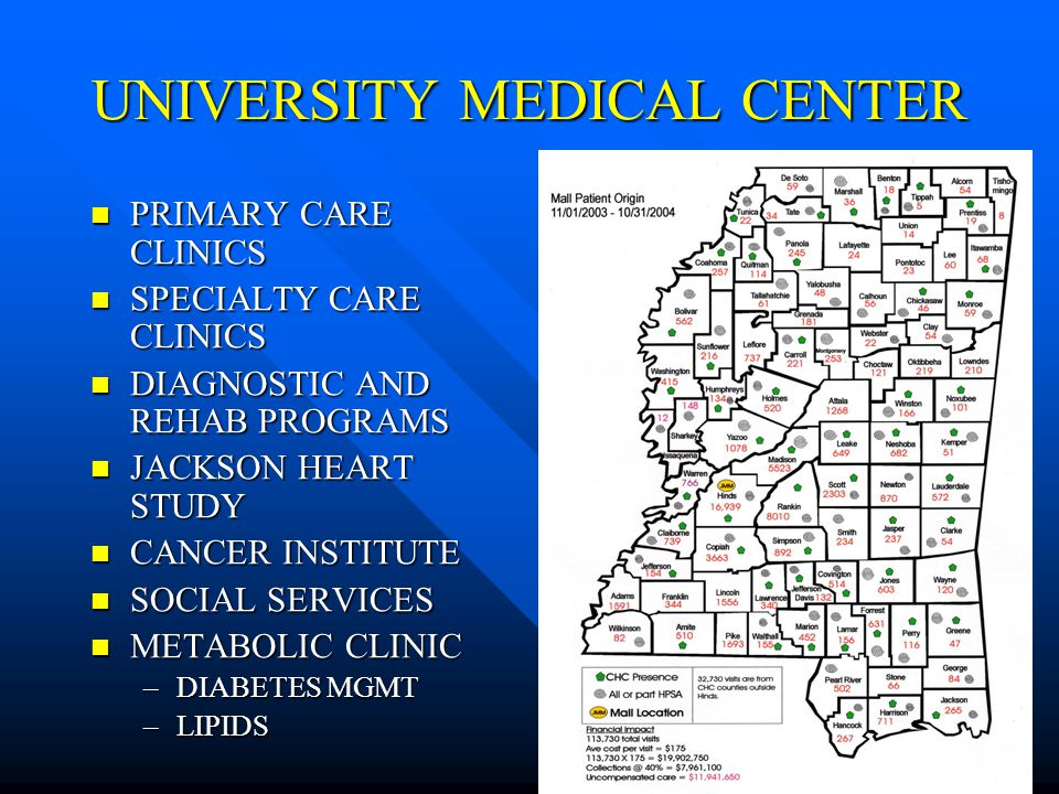 UNIVERSITY MEDICAL CENTER PRIMARY CARE CLINICS PRIMARY CARE CLINICS SPECIALTY CARE CLINICS SPECIALTY CARE CLINICS DIAGNOSTIC AND REHAB PROGRAMS DIAGNOSTIC AND REHAB PROGRAMS JACKSON HEART STUDY JACKSON HEART STUDY CANCER INSTITUTE CANCER INSTITUTE SOCIAL SERVICES SOCIAL SERVICES METABOLIC CLINIC METABOLIC CLINIC –DIABETES MGMT –LIPIDS