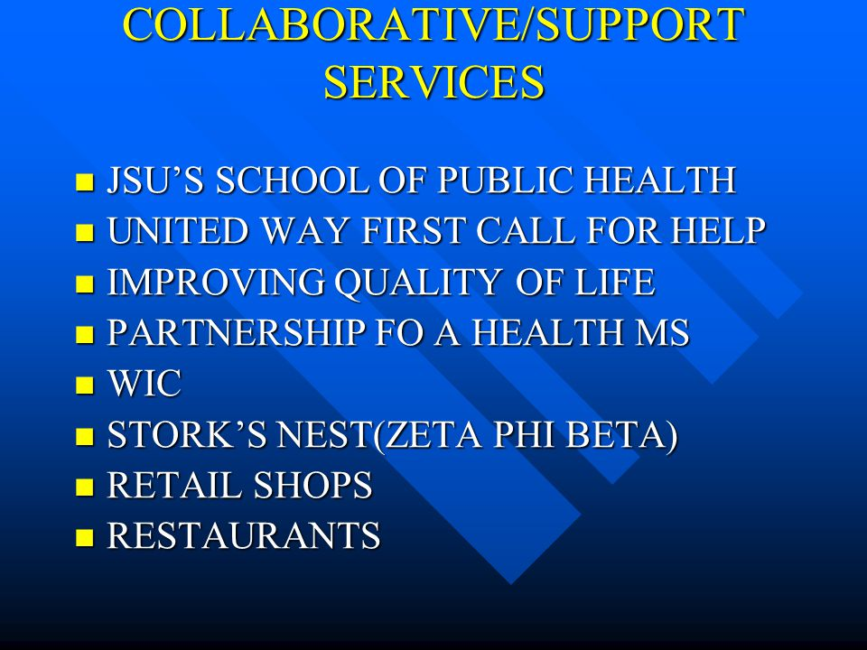 COLLABORATIVE/SUPPORT SERVICES JSUS SCHOOL OF PUBLIC HEALTH JSUS SCHOOL OF PUBLIC HEALTH UNITED WAY FIRST CALL FOR HELP UNITED WAY FIRST CALL FOR HELP IMPROVING QUALITY OF LIFE IMPROVING QUALITY OF LIFE PARTNERSHIP FO A HEALTH MS PARTNERSHIP FO A HEALTH MS WIC WIC STORKS NEST(ZETA PHI BETA) STORKS NEST(ZETA PHI BETA) RETAIL SHOPS RETAIL SHOPS RESTAURANTS RESTAURANTS