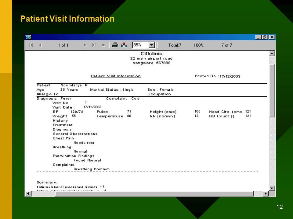 12 Patient Visit Information