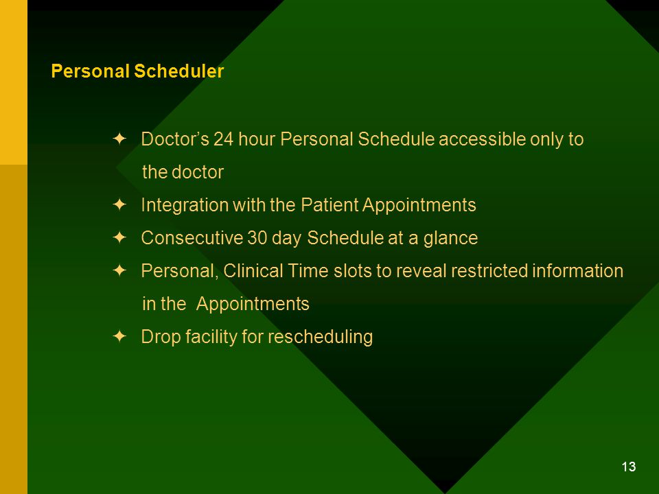13 Personal Scheduler Doctors 24 hour Personal Schedule accessible only to the doctor Integration with the Patient Appointments Consecutive 30 day Schedule at a glance Personal, Clinical Time slots to reveal restricted information in the Appointments Drop facility for rescheduling