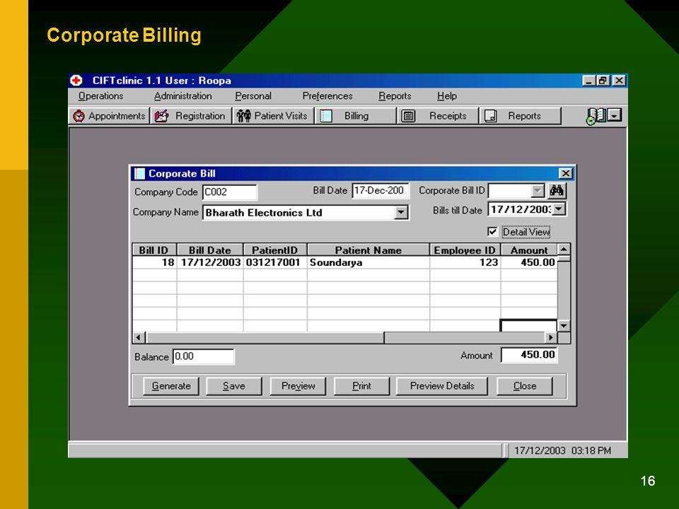 16 Corporate Billing