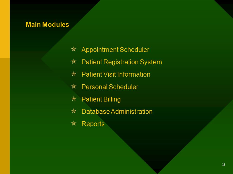 3 Main Modules Appointment Scheduler Patient Registration System Patient Visit Information Personal Scheduler Patient Billing Database Administration Reports