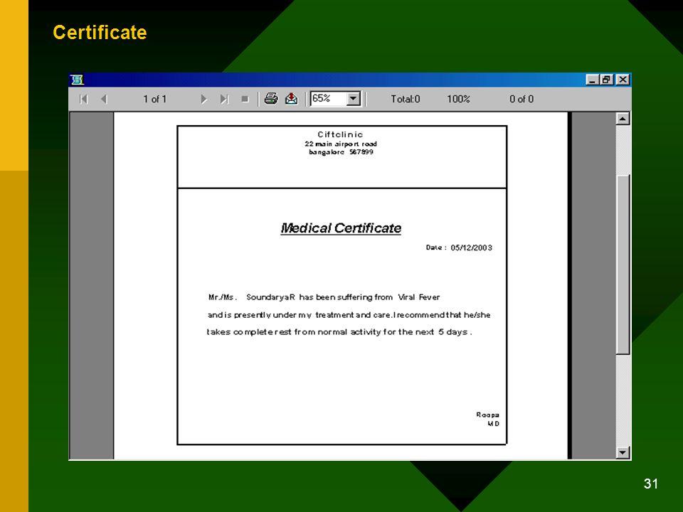 31 Certificate