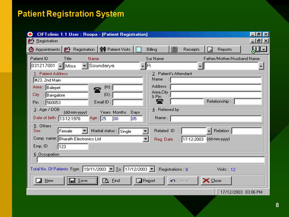 8 Patient Registration System