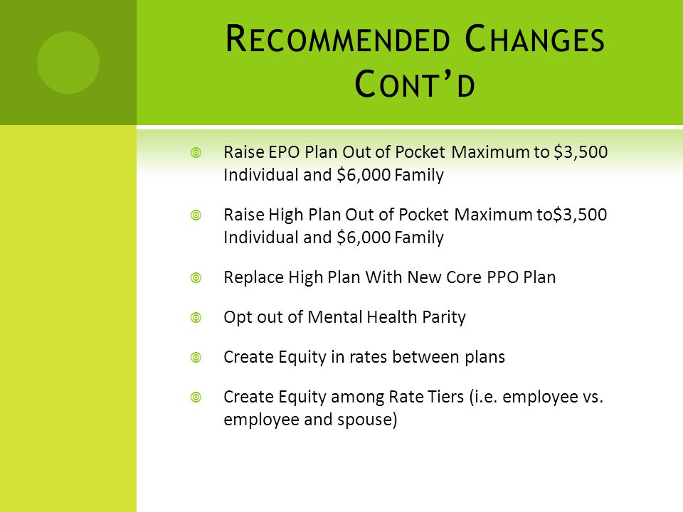R ECOMMENDED C HANGES C ONT D Raise EPO Plan Out of Pocket Maximum to $3,500 Individual and $6,000 Family Raise High Plan Out of Pocket Maximum to$3,500 Individual and $6,000 Family Replace High Plan With New Core PPO Plan Opt out of Mental Health Parity Create Equity in rates between plans Create Equity among Rate Tiers (i.e.