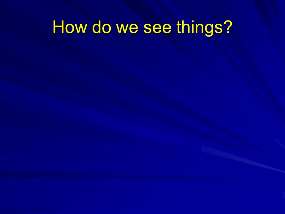 How do we see things?