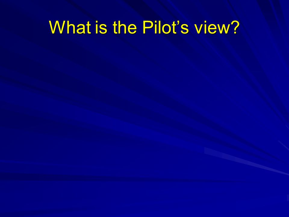 What is the Pilots view?