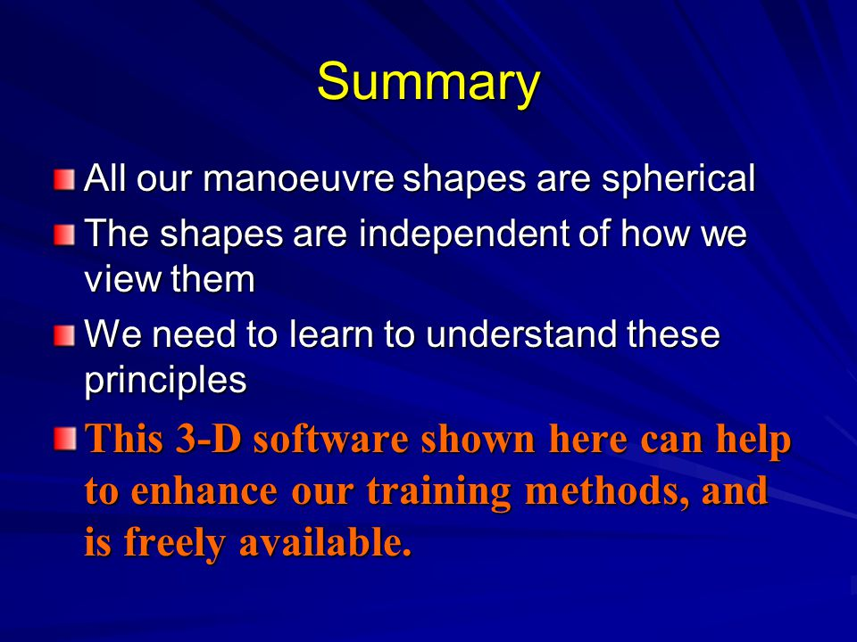 Summary All our manoeuvre shapes are spherical The shapes are independent of how we view them We need to learn to understand these principles This 3-D