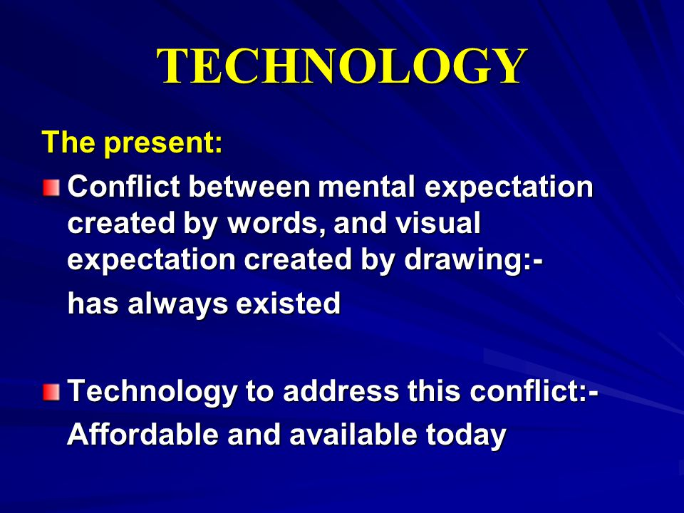 TECHNOLOGY The present: Conflict between mental expectation created by words, and visual expectation created by drawing:- has always existed Technolog