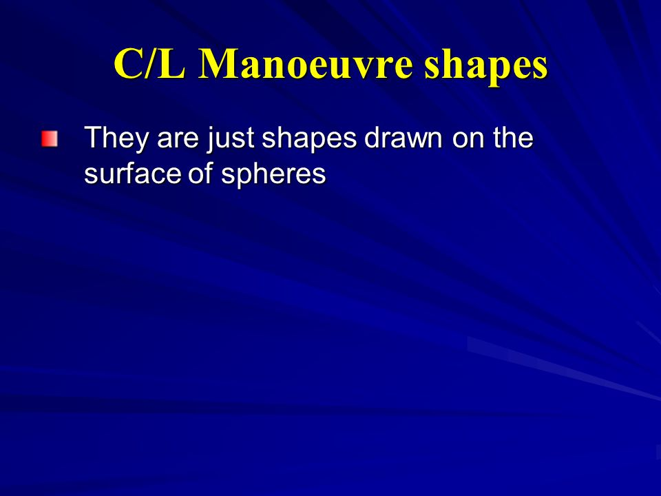 C/L Manoeuvre shapes They are just shapes drawn on the surface of spheres