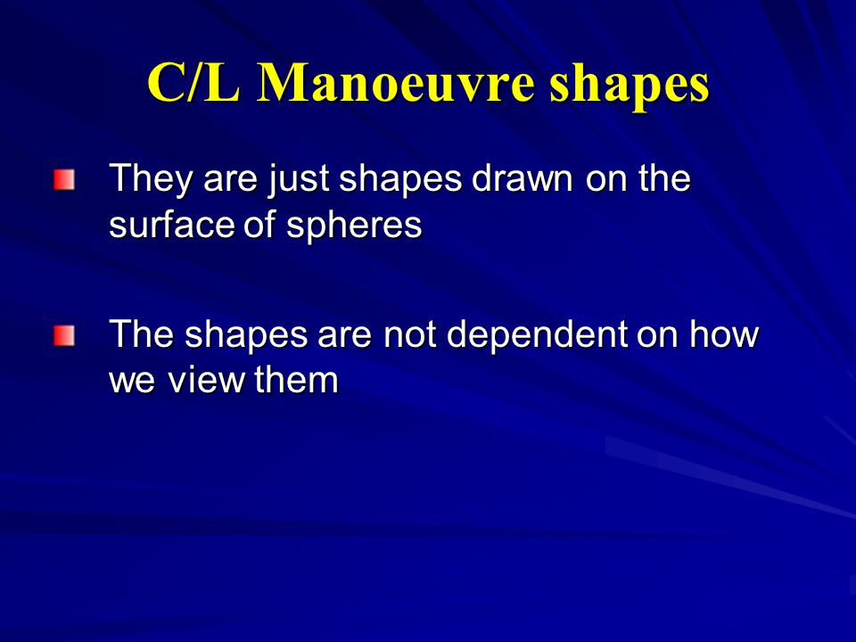 C/L Manoeuvre shapes They are just shapes drawn on the surface of spheres The shapes are not dependent on how we view them