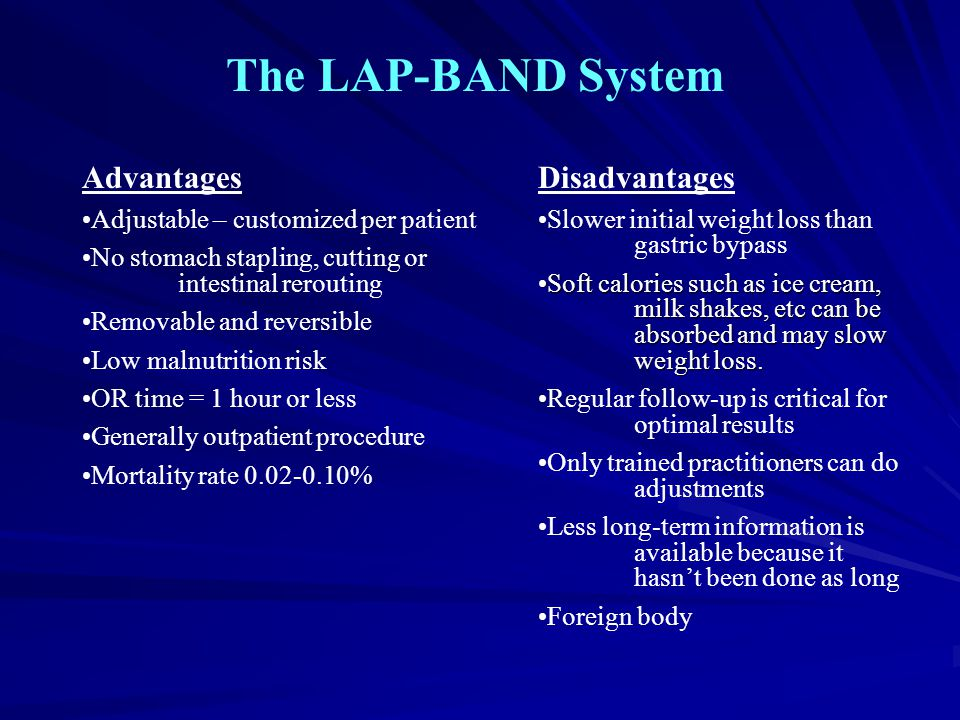 The LAP-BAND System Advantages Adjustable – customized per patient No stomach stapling, cutting or intestinal rerouting Removable and reversible Low m
