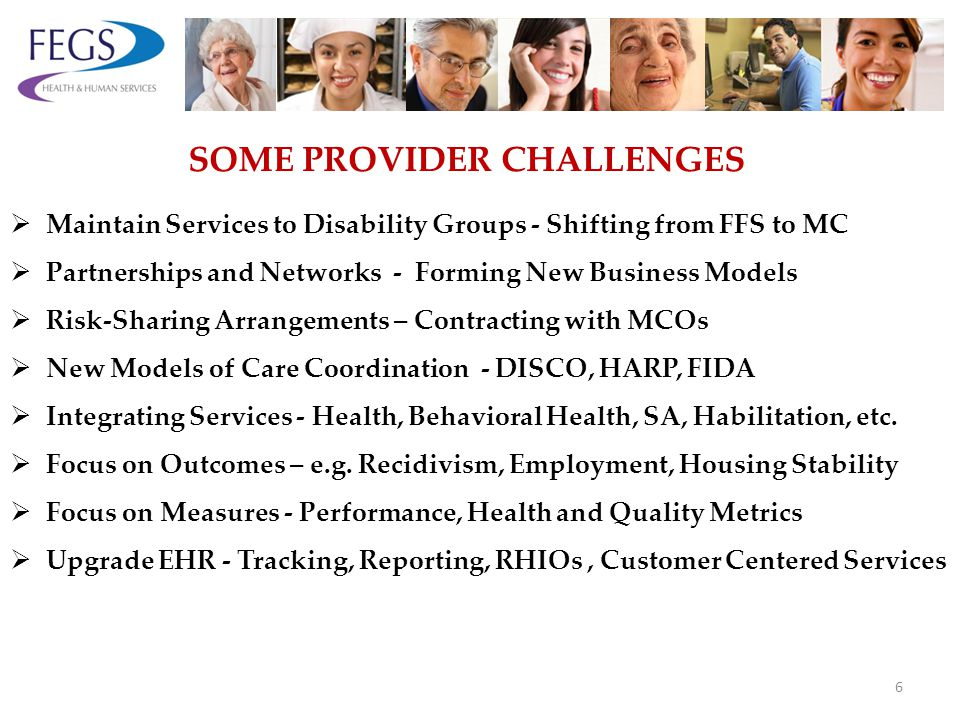 Maintain Services to Disability Groups - Shifting from FFS to MC Partnerships and Networks - Forming New Business Models Risk-Sharing Arrangements – Contracting with MCOs New Models of Care Coordination - DISCO, HARP, FIDA Integrating Services - Health, Behavioral Health, SA, Habilitation, etc.