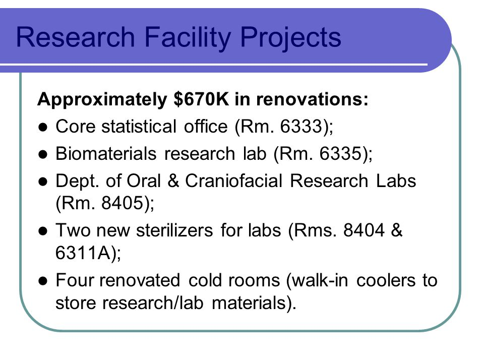 Research Facility Projects Approximately $670K in renovations: Core statistical office (Rm.