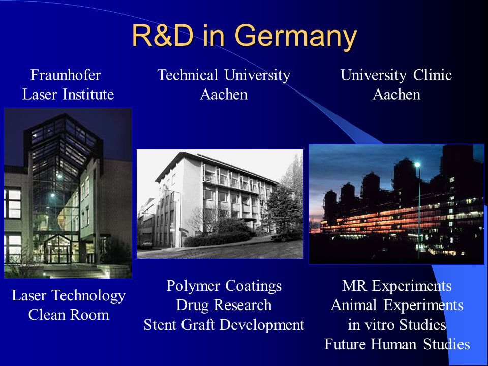 R&D in Germany Fraunhofer Laser Institute University Clinic Aachen Technical University Aachen Laser Technology Clean Room MR Experiments Animal Experiments in vitro Studies Future Human Studies Polymer Coatings Drug Research Stent Graft Development