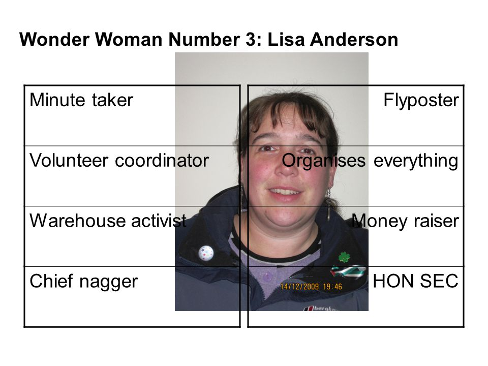 Minute taker Volunteer coordinator Warehouse activist Chief nagger Flyposter Organises everything Money raiser HON SEC Wonder Woman Number 3: Lisa Anderson
