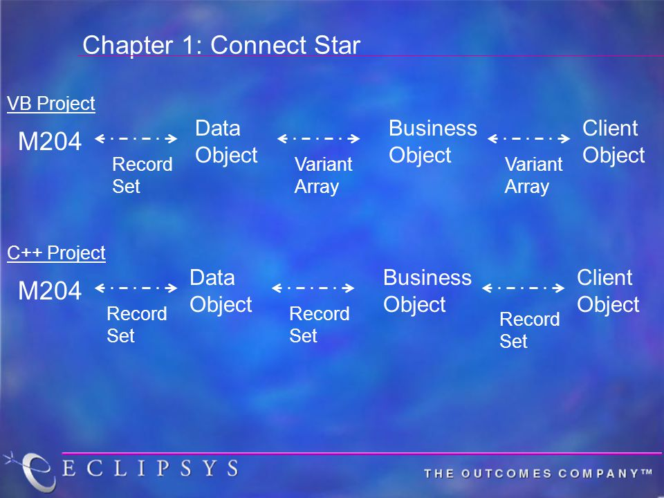 Chapter 1: Connect Star M204 Data Object Business Object Client Object Record Set Variant Array Variant Array M204 Data Object Business Object Client